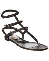 Valentino Rockstud Caged Leather Ankle Strap Sandal - Black