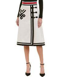 Gucci Web Detail Linen & Silk-blend Skirt - White