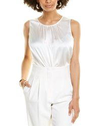 St. John Charmeuse Silk-blend Shell - White