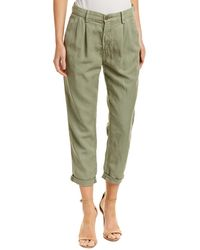 AG Jeans The Evan Sulfur Olive Relaxed Pleated Linen-blend Trouser - Green