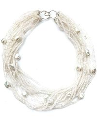 Arthur Marder Fine Jewelry Silver Moonstone & 9-12mm Pearl Necklace - Metallic
