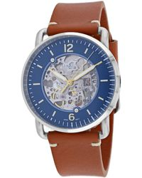 Fossil Me3159 Commutor Automatic Leather Watch 42mm - Blue