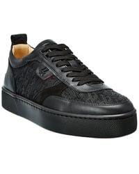 Christian Louboutin Happyrui Leather & Suede-trim Sneaker - Black