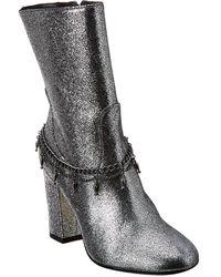 Pinko Struttura Leather Bootie - Metallic