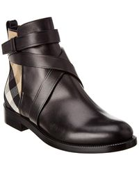 Burberry Vintage Check Leather Ankle Boot - Black
