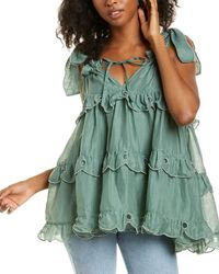 Innika Choo Scallop Frill Mini Dress - Green