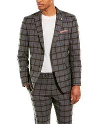 Original Penguin 2pc Slim Fit Wool-blend Suit With Flat Pant - Gray
