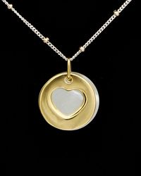 Argento Vivo 18k Over Silver 15mm Mother-of-pearl Pendant Necklace - Black