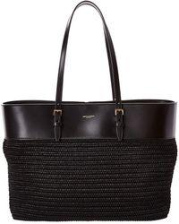 Saint Laurent Medium E/w Boucle Raffia & Leather Tote - Black