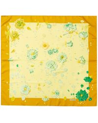 "Hermès ""la Rosee,"" By Anne Gavarani Silk Scarf - Yellow"