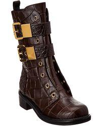 Giuseppe Zanotti - Croc-embossed Leather Biker Boot - Lyst