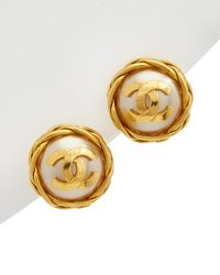 Chanel Gold-tone & Faux Pearl Cc Button Clip-on Earrings - Metallic