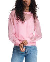 Rag & Bone Caley Viscose Crew Slim Fit Long Sleeve Shirt - Pink