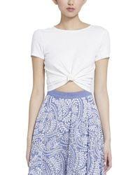 Alice + Olivia Kane Front Tie Linen-blend T-shirt - White