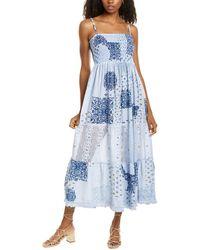Raga Makana Smocked Linen-blend Maxi Dress - Blue