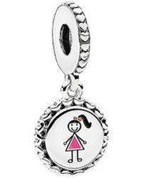 PANDORA Jewellery Silver Girl Stick Figure Engraved Dangle Charm - Metallic