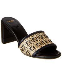 Fendi Ff Interlaced Leather Sandal - Black