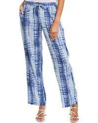 Vince Camuto Linear Shibori Linen-blend Pant - Blue