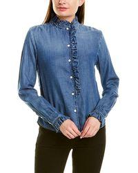 FRAME Denim Ruffle Denim Shirt - Blue