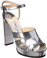 fe667532ecd Jimmy Choo Hermione 120 Tan Vanchetta Leather Platform Sandals in ...