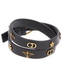 Dior Leather Bracelet - Black