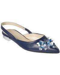 Delpozo Embellished Leather Flat - Blue