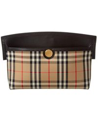 Burberry Society Vintage Check & Leather Clutch - Black