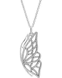 PANDORA Silver Cz New Beginning Butterfly Pendant Necklace - Metallic