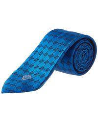 Versace - Black & Blue Silk Tie - Lyst