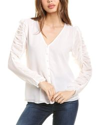 1.STATE Ruched Sleeve Button Front Top - White