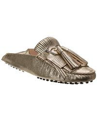 2d9afa7a2db Tod s - Gommino Fringed Slip-on Metallic Leather Loafer - Lyst