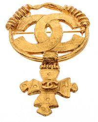 Chanel Gold-tone Maltese Cc Cross Brooch - Metallic