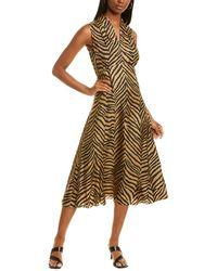 Elie Tahari Silk Midi Dress - Brown
