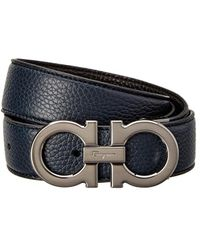 Ferragamo Double Gancio Buckle Reversible & Adjustable Leather Belt - Black
