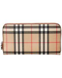 Burberry Elmore Vintage Check & Leather Zip Around Wallet - Brown
