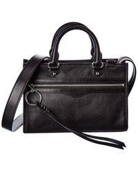 Rebecca Minkoff Micro Bedford Zip Leather Satchel - Black