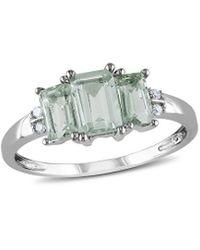 Rina Limor 10k 1.09 Ct. Tw. Diamond & Green Amethyst Ring