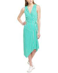 Charles Henry Striped Wrap Dress - Green