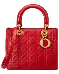 Dior Red Lambskin Leather Medium Lady