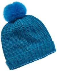 Portolano - Wool-blend Hat With Faux Fur Pom - Lyst