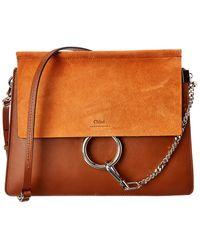 Chloé Faye Medium Leather & Suede Shoulder Bag - Orange