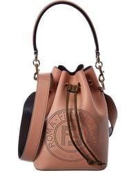 Fendi Mon Tresor Perforated Leather Bucket Bag - Brown
