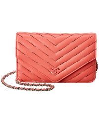 Chanel Pink Chevron Quilted Lambskin Leather Wallet On Chain