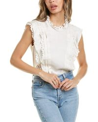 Rebecca Taylor Embroidered Silk-blend Top - White