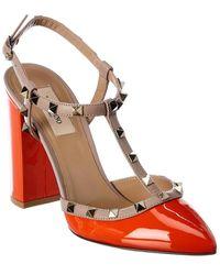 Valentino Garavani Rockstud Patent Pump - Orange