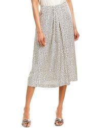 Vince Star Dot Drape Silk-blend Midi Skirt - Multicolour