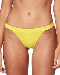 Red Carter Texture Banded Hipster Bikini Bottom - Yellow