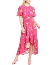 French Connection Emina Drape Midi Dress - Pink
