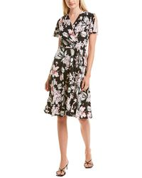 Sandra Darren Pleated Crossover Midi Dress - Black