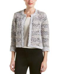 Magaschoni Silk & Cashmere Blend Texture Tweed Jacket - Gray